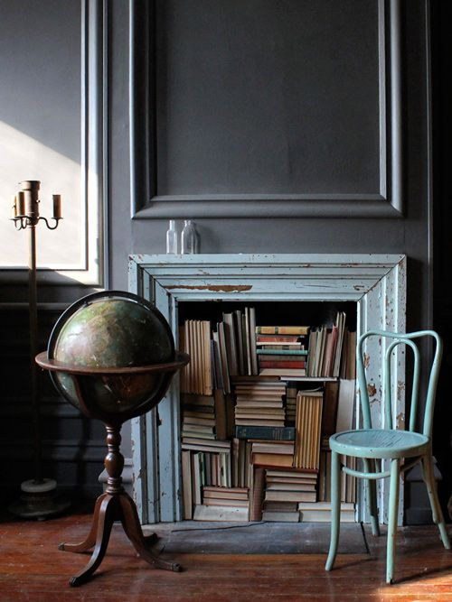 love the books in the fireplace.Decor, Ideas, Bookshelves, Vintage Book, Book Storage, Design Sponge, Bookcas, House, Fake Fireplaces