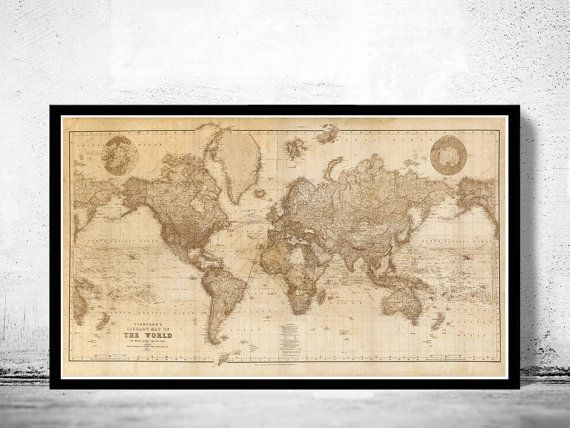 215 best old world maps images on pinterest old world maps beautiful world map vintage atlas 1898 mercator by oldcityprints gumiabroncs Gallery