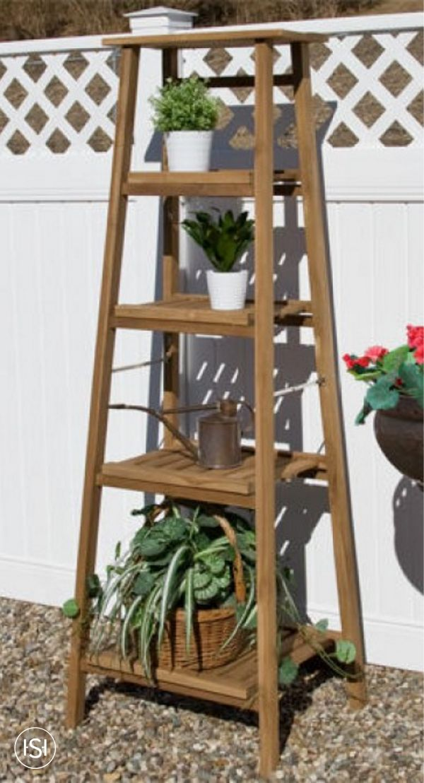 Four Tiered Ladder Style Teak Plant Stand Gardens Plant