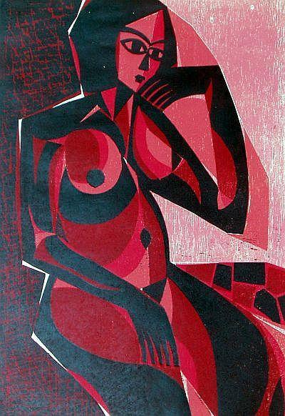 ROTER AKT Farbholzschnitt in der Technik der verlorenen Form, Bildformat 35 x 50 cm, auf Japanbütten 45 x 66 cm, Auflage 7 Exemplare, signiert und nummeriert