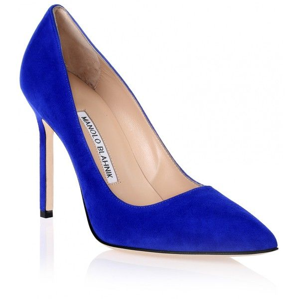 Manolo Blahnik BB105 blue suede pump (46185 RSD) ❤ liked on Polyvore featuring shoes, pumps, blue, suede pumps, blue pumps, high heel pumps, pointy toe pumps and blue shoes
