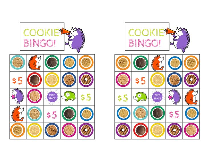 Printable Girl Scout cookies bingo - 2016 cookie lineup for ABC bakers. 20 unique bingo sheets + 88 callouts. Print, cut, and use tokens to play! (If you don't have tokens, cut small squares out of colored paper - voila!)