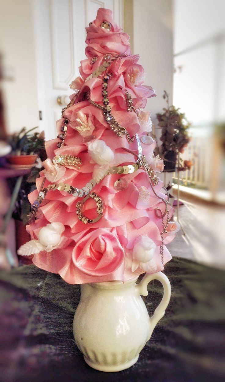 Shabby chic pink vintage retro mini  ribbon and jewellery Christmas tree by VintageShopCreations on Etsy https://www.etsy.com/listing/260247041/shabby-chic-pink-vintage-retro-mini
