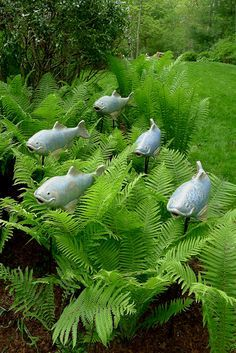 Fish garden sculptures – The ferns appear to be aquatic plants with the fish swimming through.