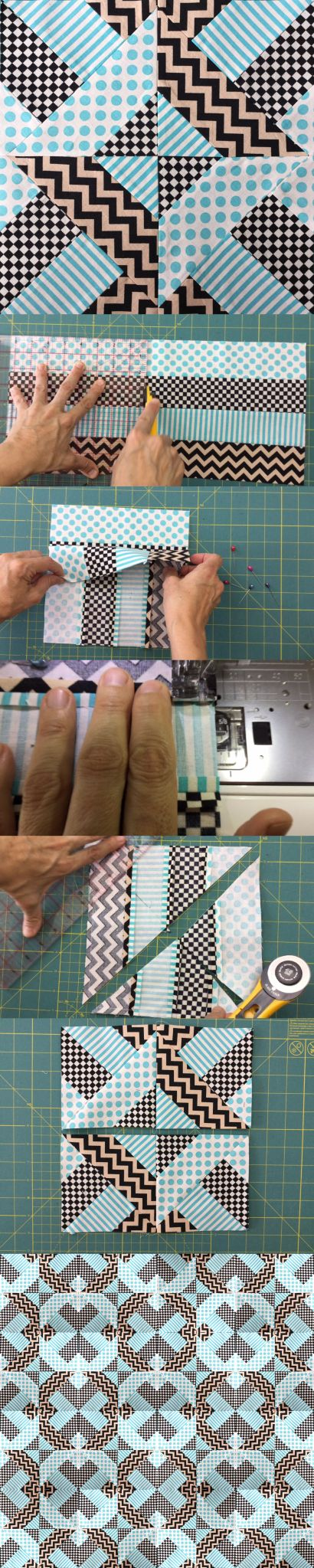 """Quick and easy """"Doubly striped Half Square Triangle block"""" (Hidden wells)"""