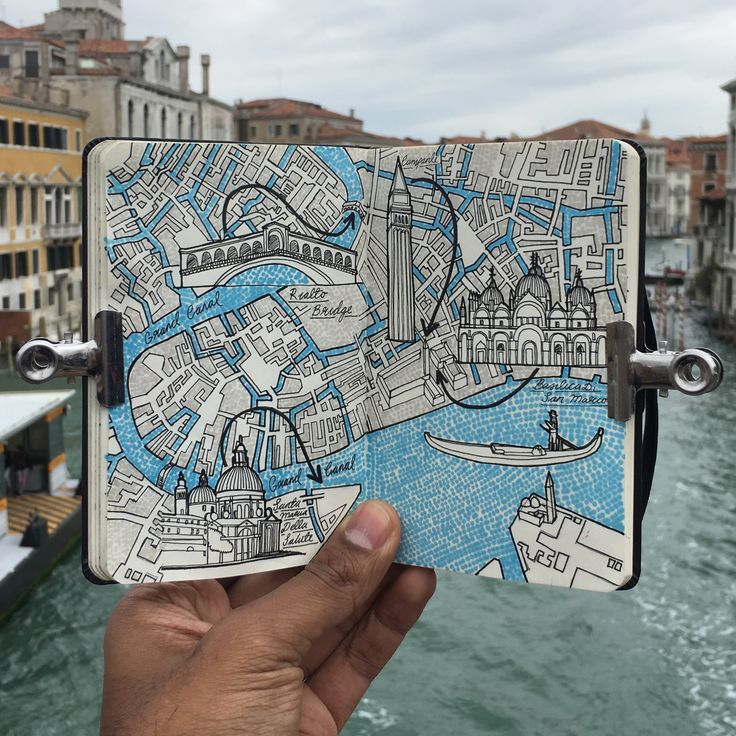 City Day Trip Map Drawing of Venice, Italy