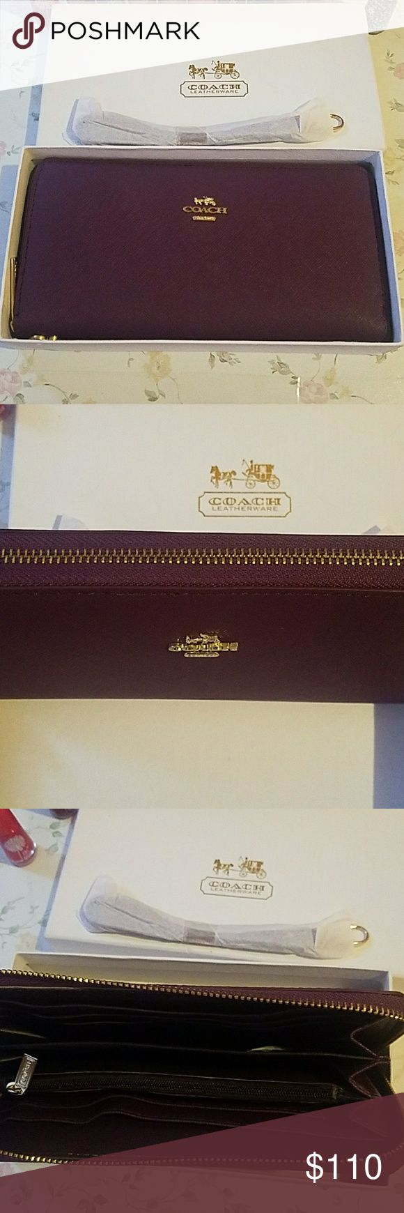NEW Coach Wallet Beautiful Dark Purple Plum Wristlet / Checkbook.  Wine and Gold.   Purchased from a Coach store in Singapore, so might look different from American model, but it is authentic.   Brand new in box, no tags. Price is firm. Coach Bags Clutches & Wristlets