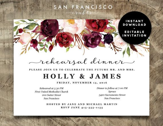 Rehearsal Dinner Invitation INSTANT DOWNLOAD |  Editable Rehearsal Dinner Invite Template - two versions | Holly Collection | Printable PDF