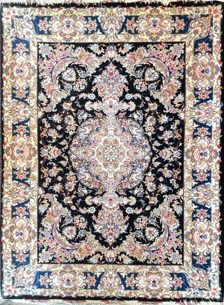 Tabriz Silk Persian Rug | Exclusive collection of rugs and tableau rugs - Treasure Gallery Retail Price: $12,500.00 You Save: 61% ($7,600.00) Item#: CS-BA-2 Category: Small(3x5-5x8) Persian Rugs Design:  Size: 150 x 200 (cm)      4' 11 x 6' 6 (ft) Origin: Iran Foundation: Silk Material: Wool & Silk Weave: 100% Hand Woven Age: Brand New KPSI: 550 You Pay : $4,900