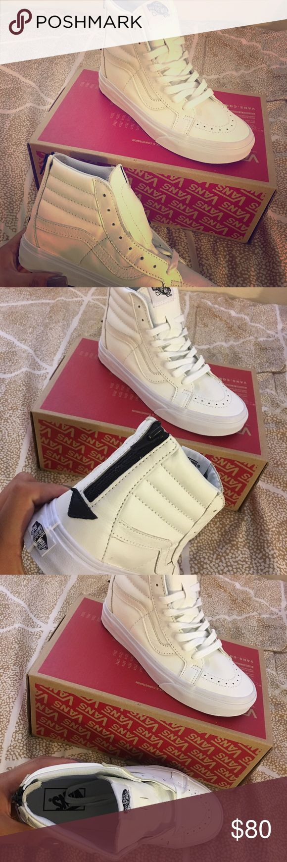 White high top vans New with tags. Women's white leather vans Vans Shoes Sneakers