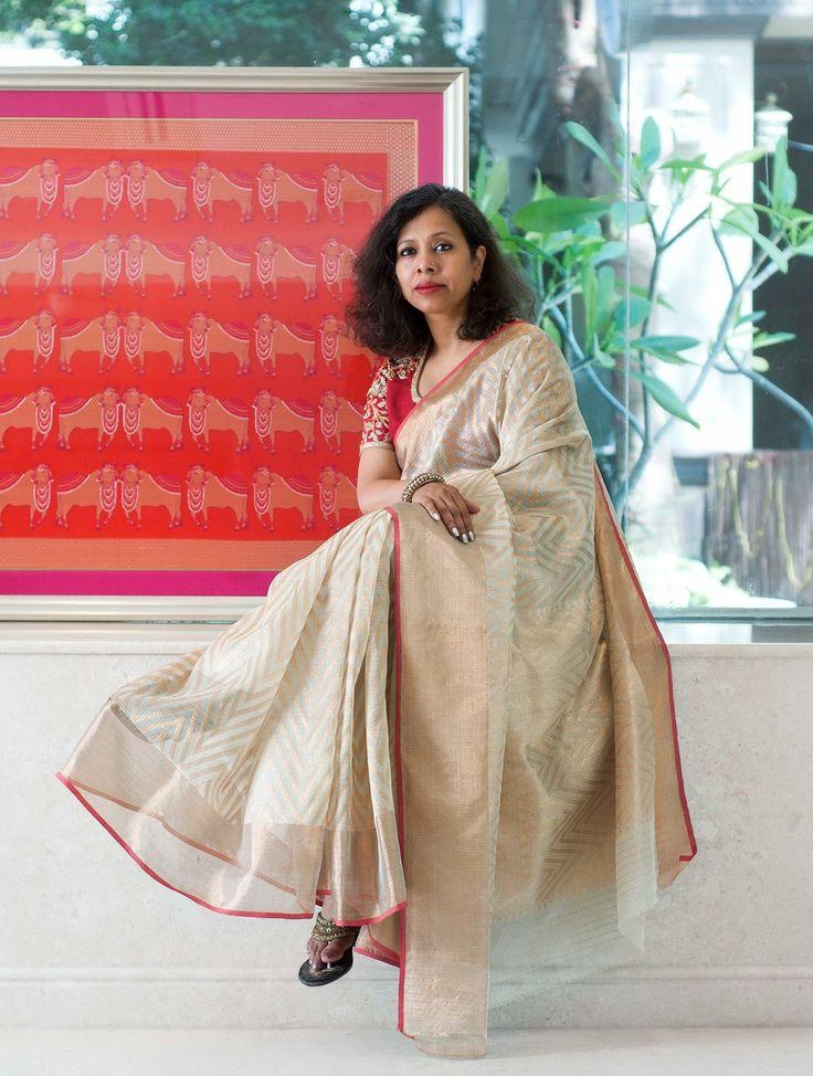 Buy Cream Pink Handwoven Kota Tissue Saree with Real Zari by Vidhi Singhania Online at Jaypore.com