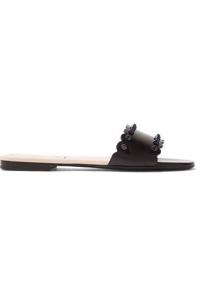 Fendi - Scalloped Studded Leather Slides - Black - IT40.5