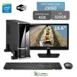 Computador 3green Slim Intel Dual Core J3060 4GB 320GB com Monitor LED 15.6 Wifi Mouse Teclado HDMI USB 3.0 - 3green technology