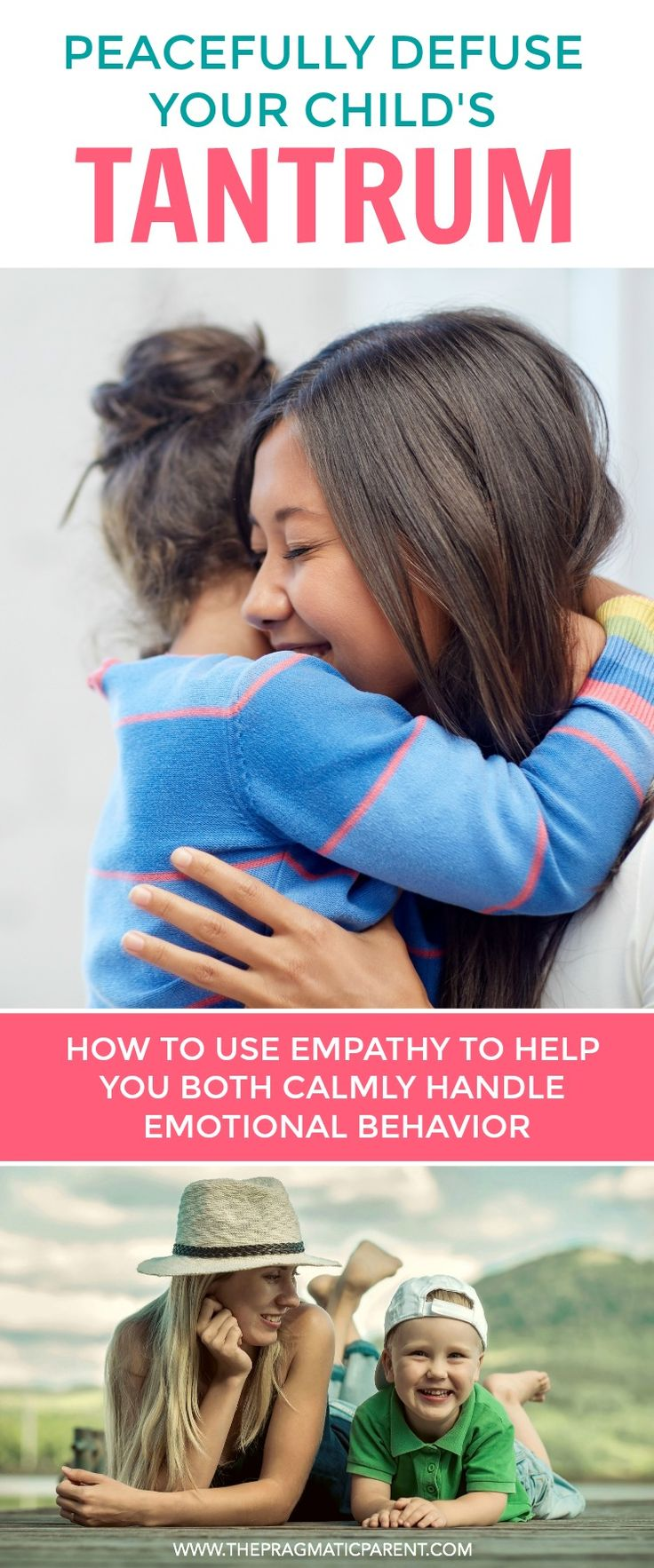 How to peacefully defuse your child's tantrum using empathy and teaching about emotions in the process. Stop tantrums by helping your child learn about emotions, name feelings, give back power and calmly handle emotional behavior. via @https://www.pinterest.com/PragmaticParent/