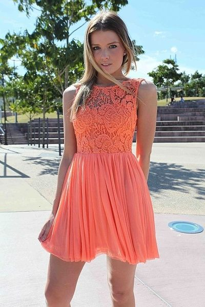 Coral Dress with Sheer Lace Top & Tulle Pleated Skirt-bad link, but maybe I'll make this if I can find the fabric.