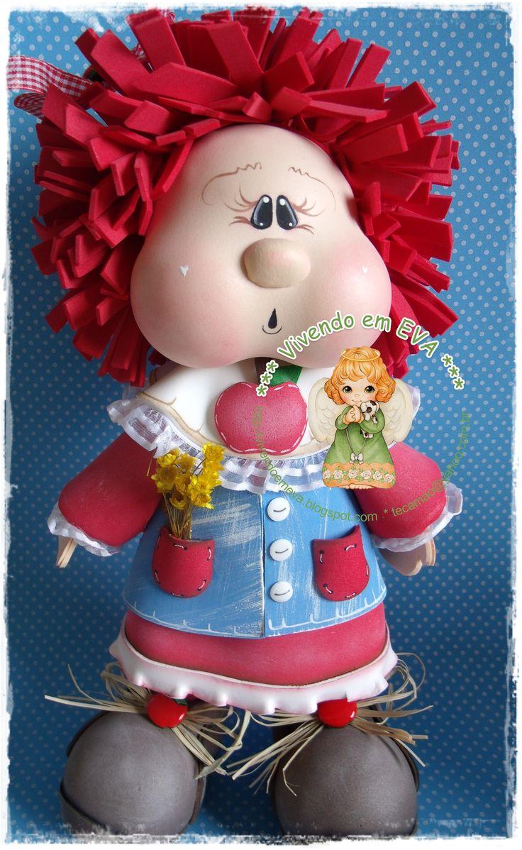 Frutinhas country 3d - tudo em e.v.a  Maçãzinha: Goma Eva, Fofucha Dolls, Cachetona Frutilla, Eva Fofucha, Eva Fomi, Foam Art, Foam Dolls, Crafts Foam, Em Eva