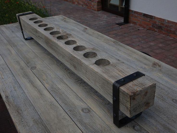 Rustykalny świecznik drewniany duży Thar