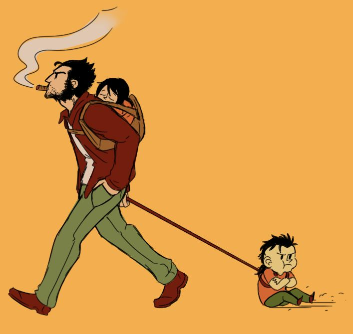 Afternoon stroll by ~WataDrag on deviantART. Wolverine with little Laura and Daken.