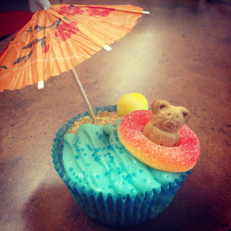 Tropical themed cupcakes