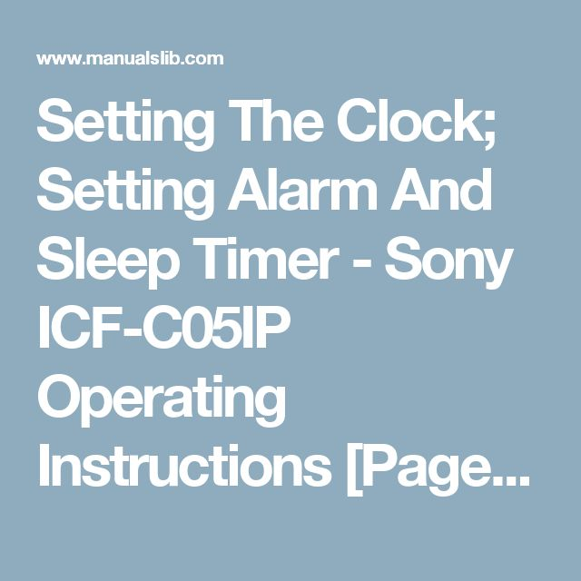 Setting The Clock; Setting Alarm And Sleep Timer - Sony ICF-C05IP Operating Instructions [Page 2]