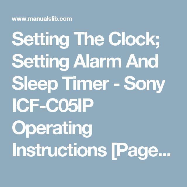 sony alarm clock instructions