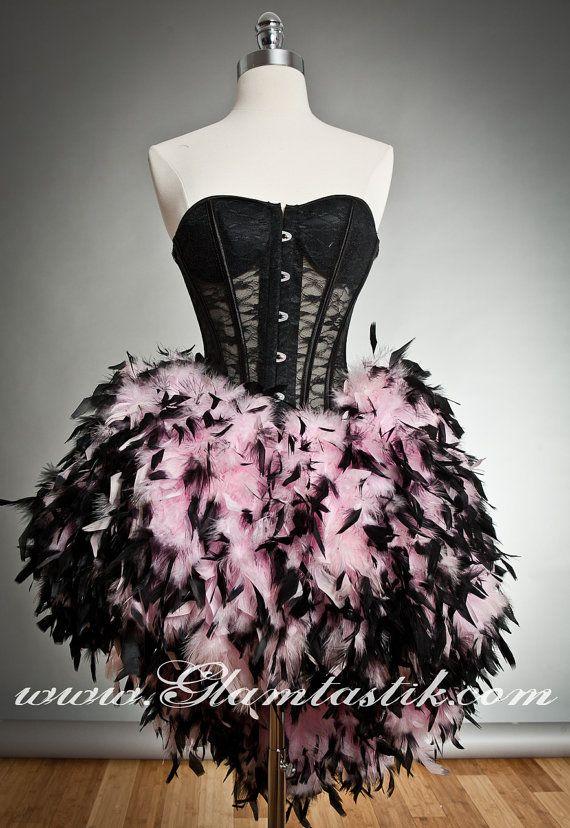 Personalizzato dimensione nero e rosa vedere attraverso pizzo Burlesque piuma corsetto abito disponibile in piccole-XL