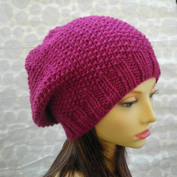 KNITTING PATTERN /ROXANNE Womans Slouchy Hat in Textured Stitch/ Knit Round E...