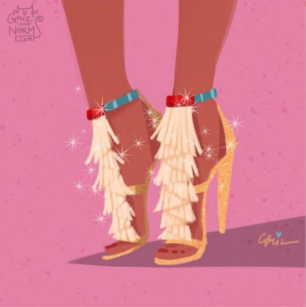 Pocahontas. Alguien tiene que hacer realidad los Chloé de esta princesa. | Los zapatos de las princesas Disney acaban de recibir un makeover encantador