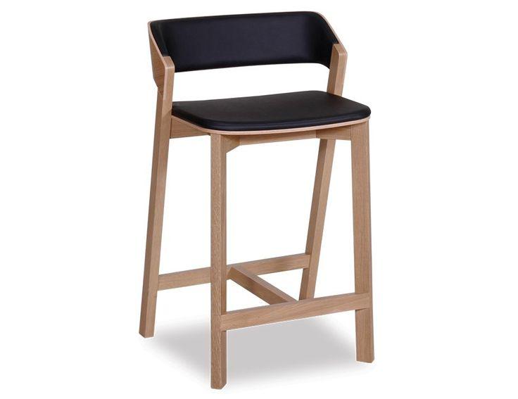 Merano Natural Oak Bar Stool with Black Seat Pad