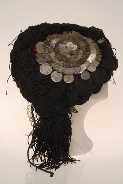 Greece, Macedonia, Grevena, tipes, festive headdress worn by married women from Ventsia, felt, beads, metallic elements, wool thread, End of 19th century
