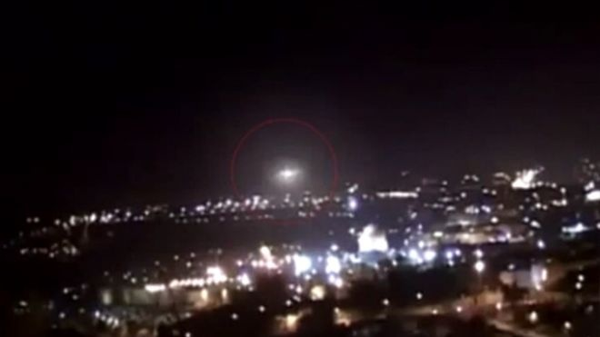The circular object was seen descending slowly over the holy city's iconic Dome of the Rock before flickering and shooting skyward like a rocket. Similar clips have been seen before and debunked as hoaxes. But this latest sighting has proved more difficult to dismiss -- as it was recorded from four different perspectives.    Read more: http://www.foxnews.com/scitech/2011/02/03/ufo-jerusalems-dome-rock-baffles-experts/#ixzz1nKTPprOI