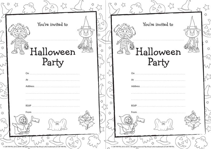 Pip Ahoy! Halloween Party Invites for you to colour in! #Halloween #PipAhoy