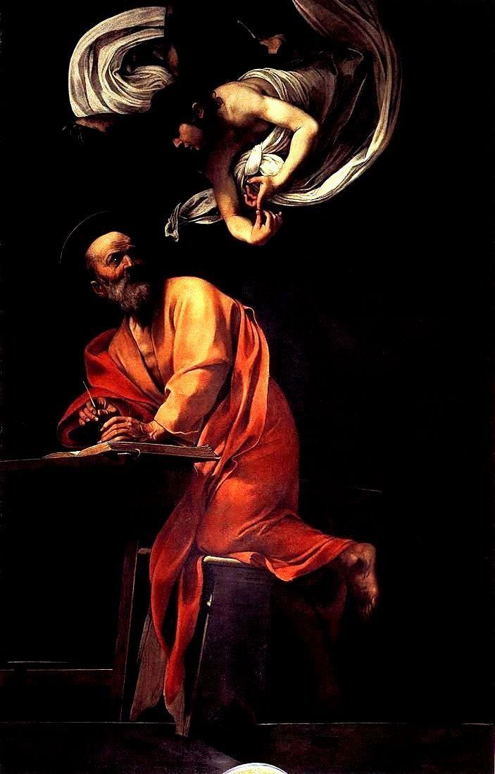 Caravaggio - San Matteo e l'angelo, 1602, olio su tela, 295 × 195 cm, Roma, San Luigi dei Francesi.