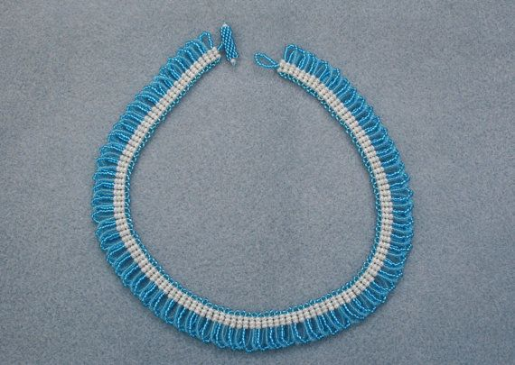Turquoise & Light Blue Beaded Necklace with Cream Band