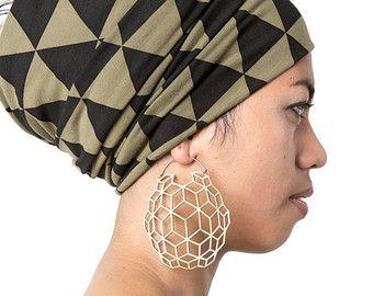 Koraal oorbellen hoepel oorbellen Brass door eleven44jewelry