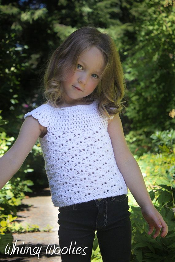 Crochet Top Pattern: 'Mary's Shell' Toddler por whimsywoolies