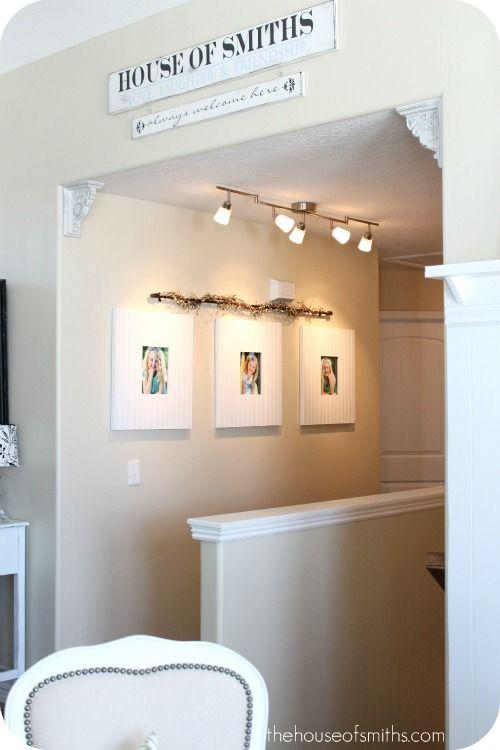 lighting options for new hallway: Remodeling Redecorating, Lighting Portraits, Big Frames, Photo Frames, Picture Frames, Bold Frames, Beadboard Frames
