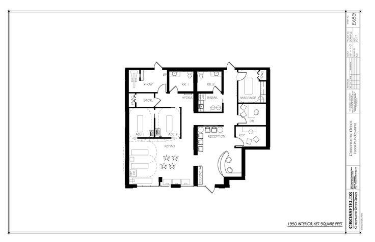 Example of chiropractic floor plan with large rehab area - Semi open floor plan ...