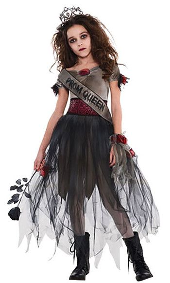 Dress up as a zombie prom queen this Halloween with this fantastic zombie costume for kids. Complete the look with a black rose.