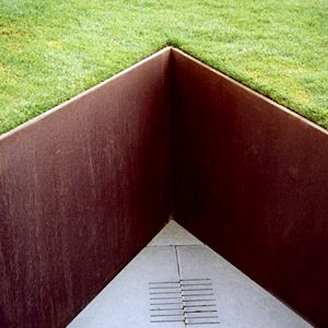 Steel retaining wall DC Metalwork. Glory in a sliver of Richard Serra in your landscape - love it!