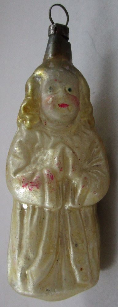 Early German Figural Angel Glass Christmas Ornament