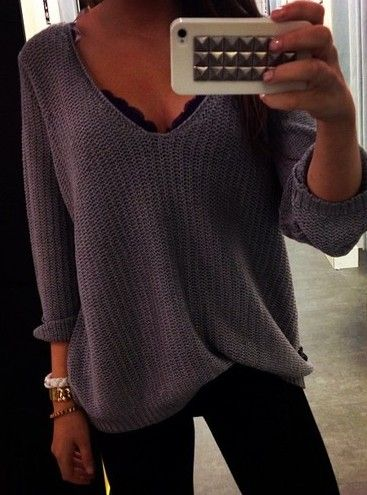 I love these slouchy sweaters and especially with a V neck. V necks tend to flatter/slim my figure and not make me look so pigeon-chested. Slouchy V neck sweaters are hard to find though!
