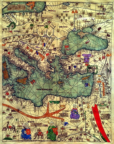 The Catalan Atlas, 1375. Eastern Europe | ⇆ ⌹ 2´/12,12´| https://www.pinterest.com/pin/464855992767510949/