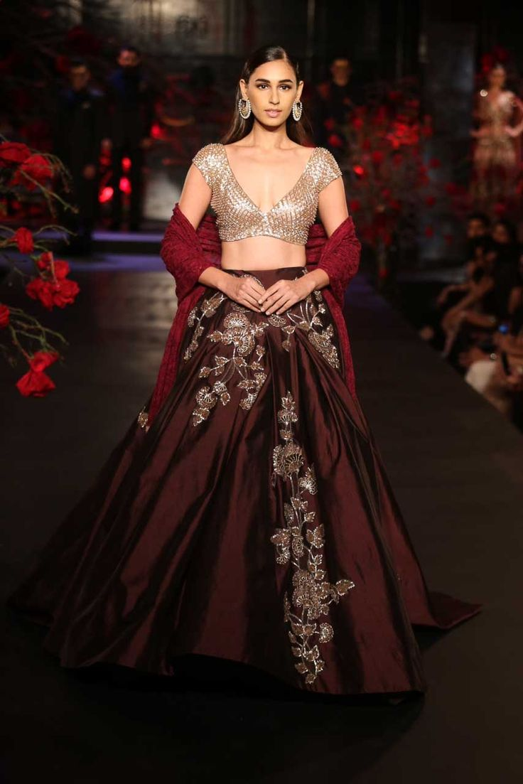 Burgundy Lehenga with Mushroom Floral Motifs, Red Dupatta _ Sequin Silver Blouse - Manish Malhotra - Amazon India Couture Week 2015
