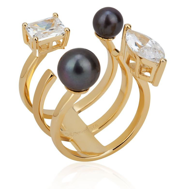 Arya Collection 3 rows black pearl gold vermeil ring