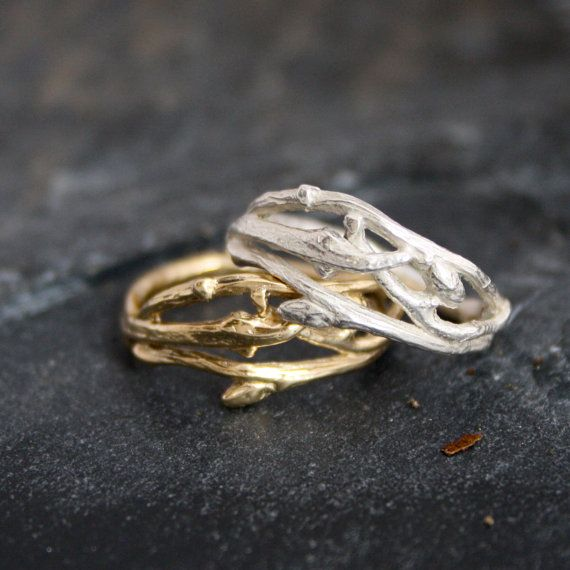 Woodland branch twig wedding band or organic by opalwing on Etsy, $567.00