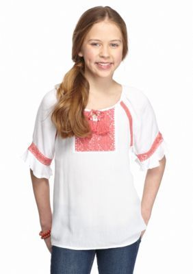 Red Camel  Batwing Woven Crochet Top Girls 7-16