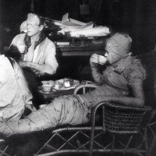 "Boris Karloff and Elsa Lanchester take a tea break on set of director James Whale's ""Bride Of Frankenstein"" (1935)."