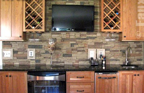 rock backsplash for kitchen   Kitchen Wall Ideas - Faux Stone Wall in Kitchen