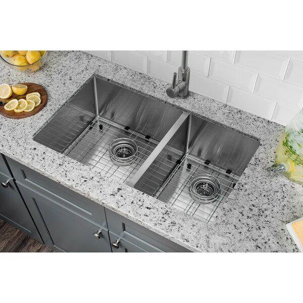 Radius 16 Gauge Stainless Steel 32 X 19 60 40 Double Bowl Undermount Kitchen Sink Undermount Kitchen Sinks Double Kitchen Sink Stainless Steel Kitchen Sink Undermount